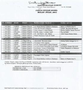 Jadual Kuliah Jul 2017 Crop
